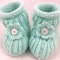 Baby Booties 6-12 mo Soft Green Flower Rhinestone Button Caron Simply