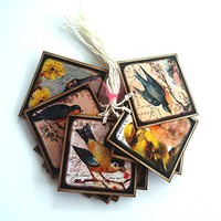 Vintage Inspired Bird Gift Tags - Set of 12
