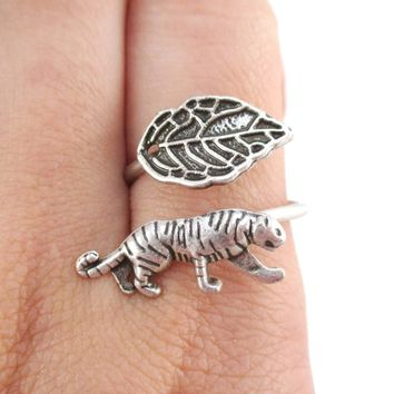 Tiger and Leaf Adjustable Wire Wrap Ring in Silver