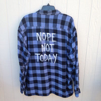 "Plaid flannel ""Not Today"" hand painted shirt // soft grunge"