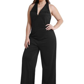 Plus Size Plunging Neck Open Back Halter Sleeveless Jumpsuit