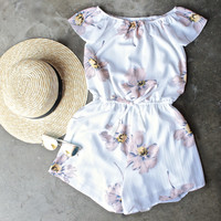 reverse - off the shoulder floral romper