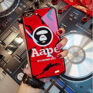 AAPE Popular Women Men Camouflage Letter Glass iPhone Phone Case 6/7/8Plus iPhone X Lovers Phone Shell