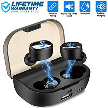 Wireless Earbuds Bluetooth 5.0 TWS Bluetooth Headphones 80H Playtime Bluetooth Earbuds Wireless Headphones Mic Stereo Headphones Bluetooth Headset Mini in-Ear Earphones with 2600mAh Charging Case