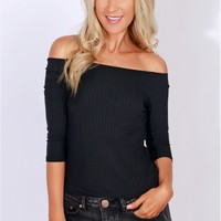 Classic Ribbed Off The Shoulder Top Black