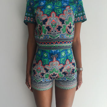 Green Floral Pattern Short Sleeve Romper