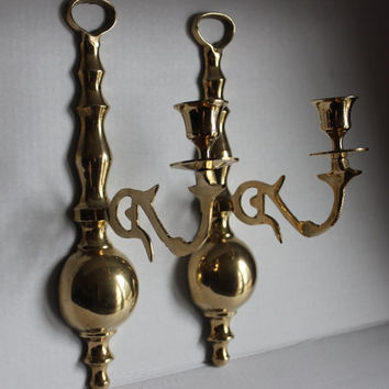 Brass Candle Wall Sconce Candelabra, Vintage 1970s Taper Candle Holder, Set of 2