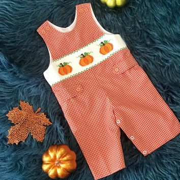 2018 Fall Boys Orange Pumpkin Smocked Long All