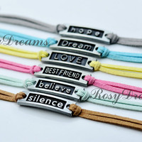 Believe, Best Friend,hope,silence, Dream and Love Charm Bracelet - Choose Your Favourite Color - Customize Your Own Style