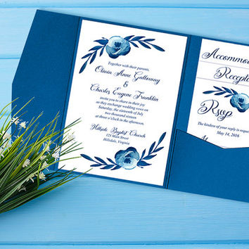 "Watercolor Wedding Pocketfold Invitation - Rustic Wedding Set ""Cotton Blossom"" Watercolor Invitation Kit - Accommodation RSVP Reception Card"