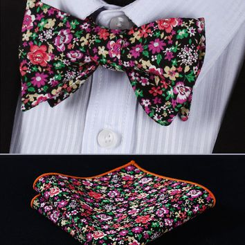 BMF203K Black Pink Red Floral 100%Cotton Jacquard Men Self Bow Tie BowTie Pocket Square Handkerchief Hanky Suit Set