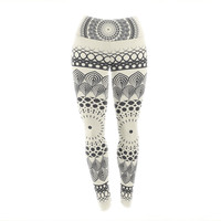 "Famenxt ""Black & White Boho Mandala"" Geometric Yoga Leggings"