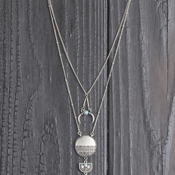 Tiered Stone & Medallion Necklace
