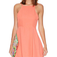 Orange Halter Backless Chiffon Mini Skater Dress