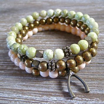 Make A Wish Bracelet Wishbone Bracelet Stackable Bracelet Beaded Bracelet Peach Green Gold Teen Arm Candy Cute Small Gift Ready To Ship