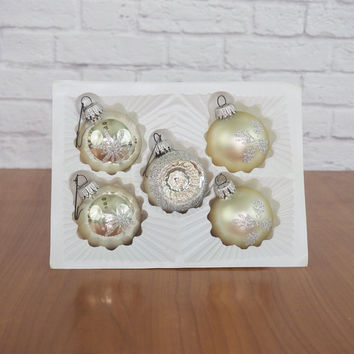 KRESGE West German Hand Painted Glass Christmas Ornaments, Silver Glass Balls, Set of 5