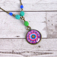 mandala pendant, purple pendant, photo jewelry, bohemian jewelry, boho necklace, gift for her