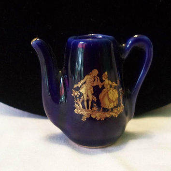 "Antique Limoges France 1 3/8"" Doll House Miniature Cobalt Blue Coffee Tea Pot Porcelain Gold Fragonard"
