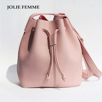 2016 Girls Cute Korean Bags Bucket Leather Shoulder Sling Bags For Women Drawstring Handbags Ladies Small Crossbody Bucket Bags