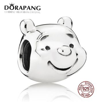 NEW 100% 925 Sterling Silver the Lovely Small Bear Charm Bead Fits Original Bracelets DIY Bangle Jewelry For Mother Gift