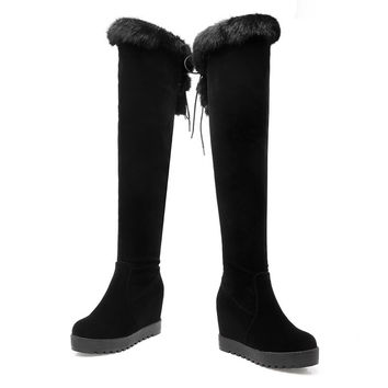 High Quality Suede Leather Lace Up Women Boots Over The Knee Shoes Height Increasing Boots Women Warm Winter Boots 7732