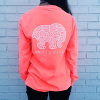Fashion Women Popular Pink Ivory Ella Cartoon Elephant Printed Floral Printed Long Sleeve Top T-Shirt