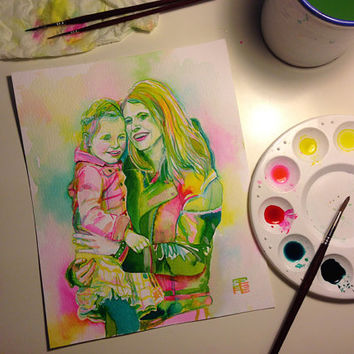 MOTHER and DAUGHTER watercolor portrait - Custom gift