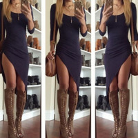 show thin long sleeve hem irregular high split cultivate one's morality dress