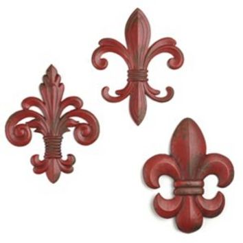Red Metal Fleur-de-lis Wall Plaques, Set of 3 | Kirkland's