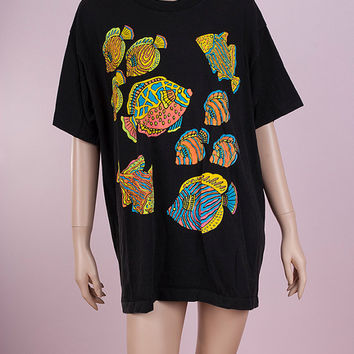 90s Neon Tropical Fish Tshirt