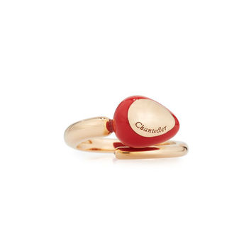 Chantecler Capriful Red Resin Droplet Bypass Ring in 18K Rose Gold
