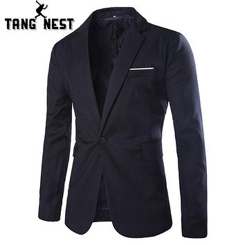 TANGNEST Casual Blazer 2017 New Commercial Simple Design Men's Blazer Spring & Autumn Gentleman Asian M-XXL Size Suits MWX308