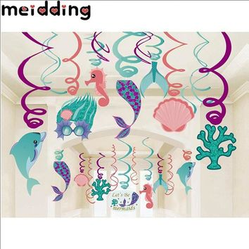 MEIDDING 1Set Mermaid Party PVC Spiral Ornaments Easter Party Decorations Hanging Pendent Banners Anniversary Gifts Party Supply