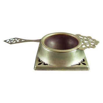 Vintage English Tea Strainer & Stand