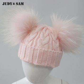 Warm Real Fur Pom Pom Blend Wool Child Cap 2017 10 Colors Winter Hats for Girls