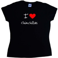 I Love Heart Chinchillas Black Ladies T-Shirt