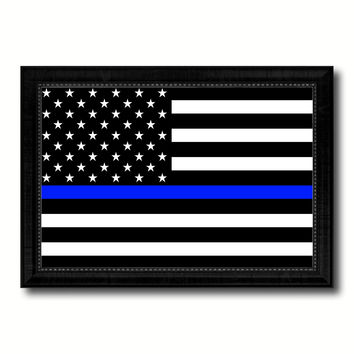 Thin Blue Line Honoring our Men and Women of Law Enforcement American Police USA Flag Canvas Print Black Picture Frame Gifts Home Decor Wall Art
