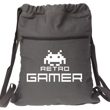 Retro Gamer Backpack Space Invaders white graphic bag