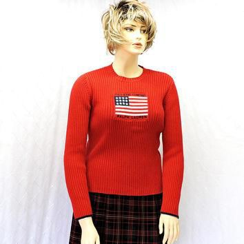 Vintage Polo Ralph Lauren sweater / size L / red knit USA flag sweater / SunnyBohoVint