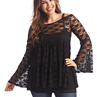 Cold Shoulder Lace Babydoll Top | Wet Seal+