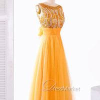 Orange long prom dress,Beading tulle prom dress,Floor length beading long evening dress,Yellow Wedding party dress,DressMarket067