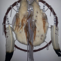 Vintage Rabbit Fur Mandala Dream Catcher with Decorative Leather - Beads - Bird Feathers