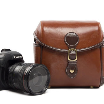 Vintage PU Leather Retro Camera Shoulder Bag DSLR Camera Bag for Nikon Canon Sony Bag 288 Red