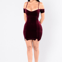 Who's That Chick Velvet Dress - Burgundy
