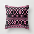 Tribal Patten pink black Throw Pillow by tjc555 | Society6