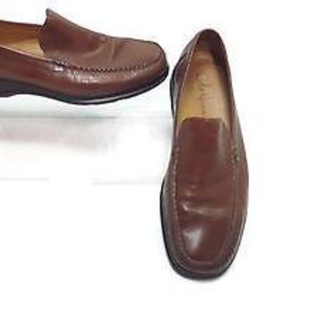 Cole Haan Nike Air mens Tan Leather Slip Ons Loafers Shoes size 9 M