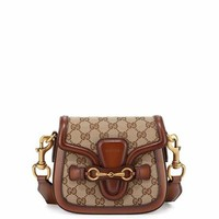 Gucci Lady Web Small GG Canvas Shoulder Bag, Brown