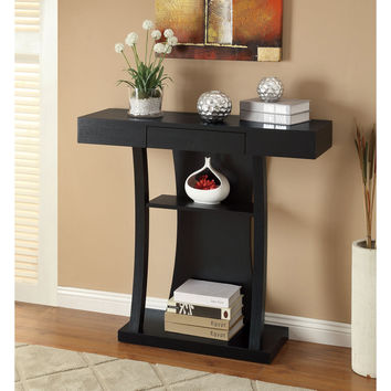 Black Finish Console Sofa Table with Drawer