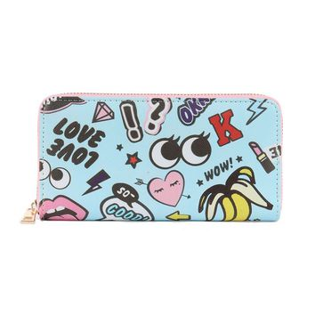 POP ICON PRINT VINYL CLUTCH WALLET