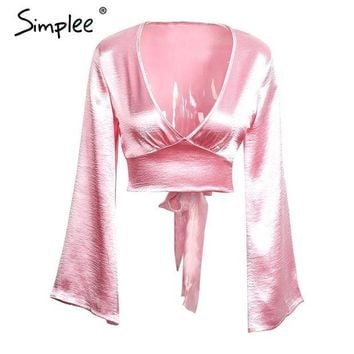LMFUNT Simplee Flare sleeve satin blouse shirt Sexy deep v neck evening party red blouse women Glossy club blusas crop top 2016